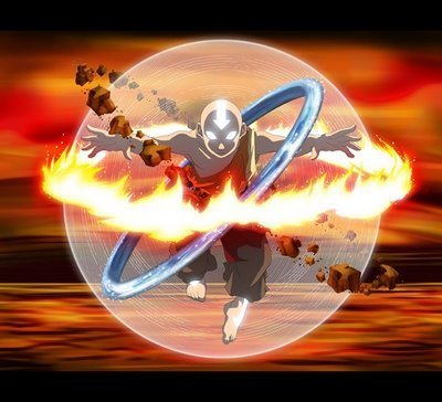 This is Aang.  He is a reincarnated martial arts master with Elemental Superpowers accessed by martial arts and enlightenment.